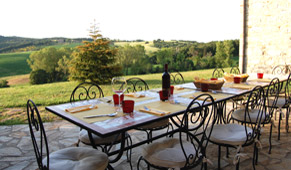 the panoramic terrace of tuscan rental villa