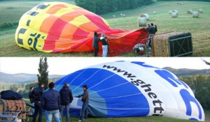 start with a fan to get air in the balloon,