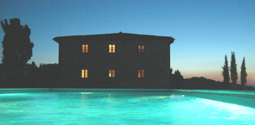 rent villa pool light in the night