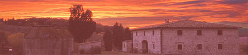 sunset in tuscan villa