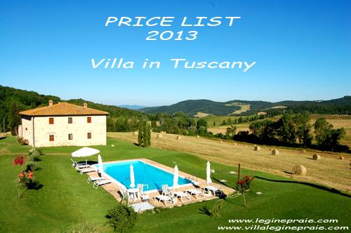 price list 2013 rent tuscany villa