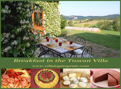 The breakfast in the Tuscan Villa