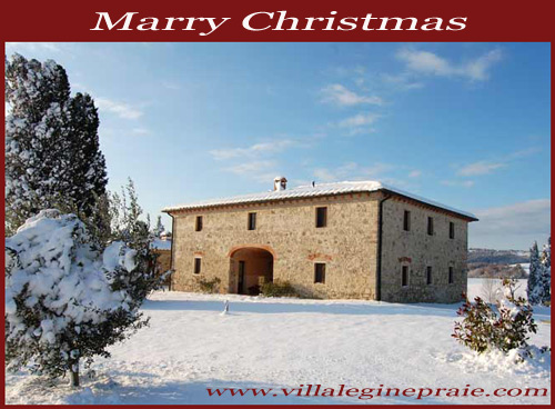 Villa in Tuscany with snow