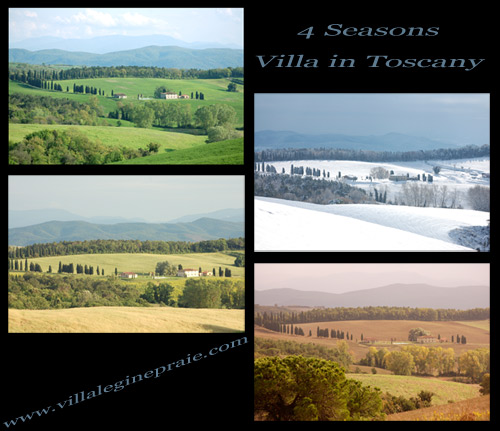 Villa in Tuscany Spring, Summer, Autumn and Winter.