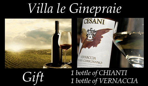 Complimentary Bottle of Chianti and Vernaccia of San Gimignano