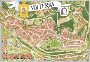 The map of Volterra in Tuscany