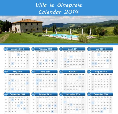 2014 calendar rent villa in Tuscany