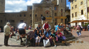 the photo of the family in san gimignano
