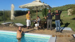 swimming and wine at the pool of the villa