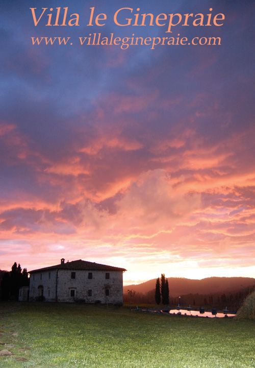 Photo sunset after rain at the Tuscany villa