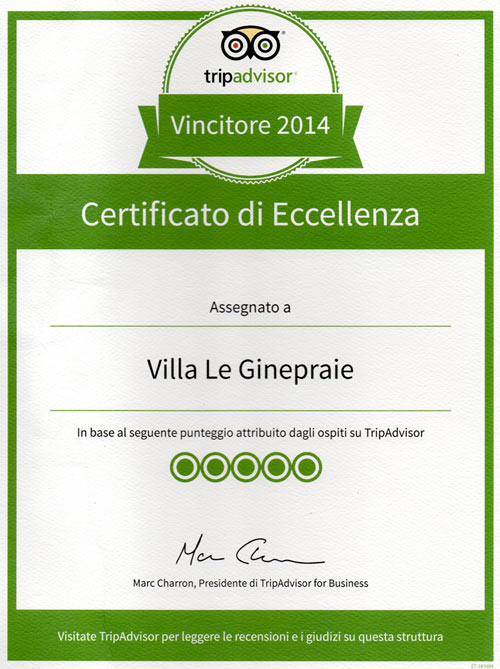 Villa in Tuscasny - certificate of excellence