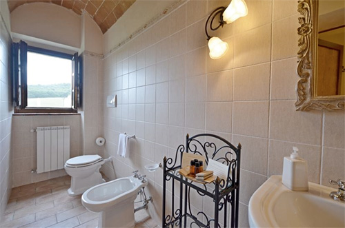 the bathroom with big window