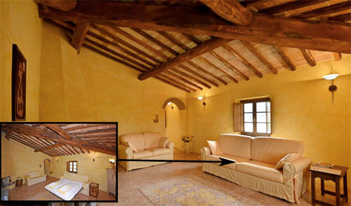 the living room of the villa with sofa bed