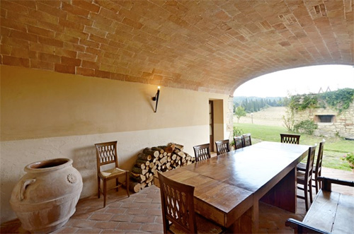 the loggia of the farmhouse in tuscany
