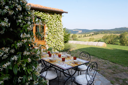 the terrace of the farmhouse restaurant
