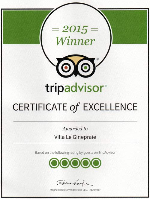 Tuscan Villa certificate of Excellence 2015