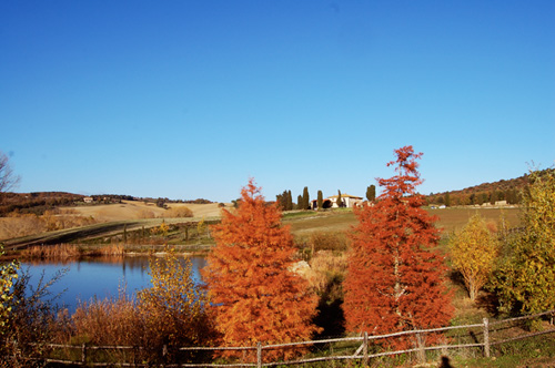 tuscany villa and poud in autumn