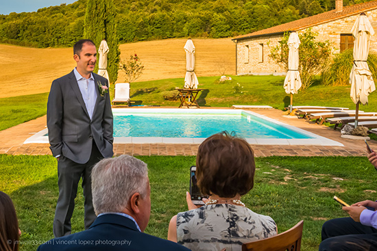 The pool of the villa and the groom