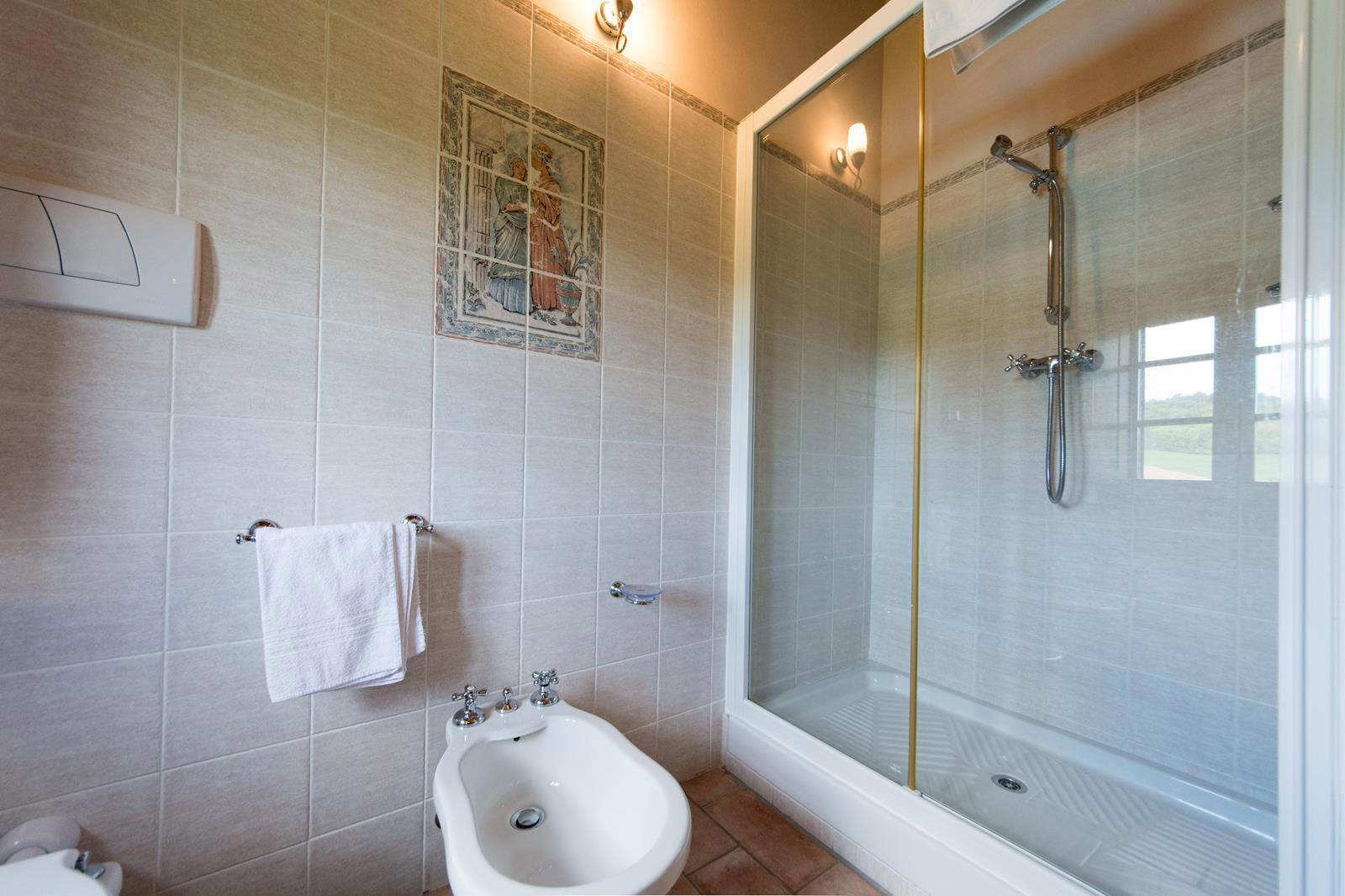 large bathroom with large shower