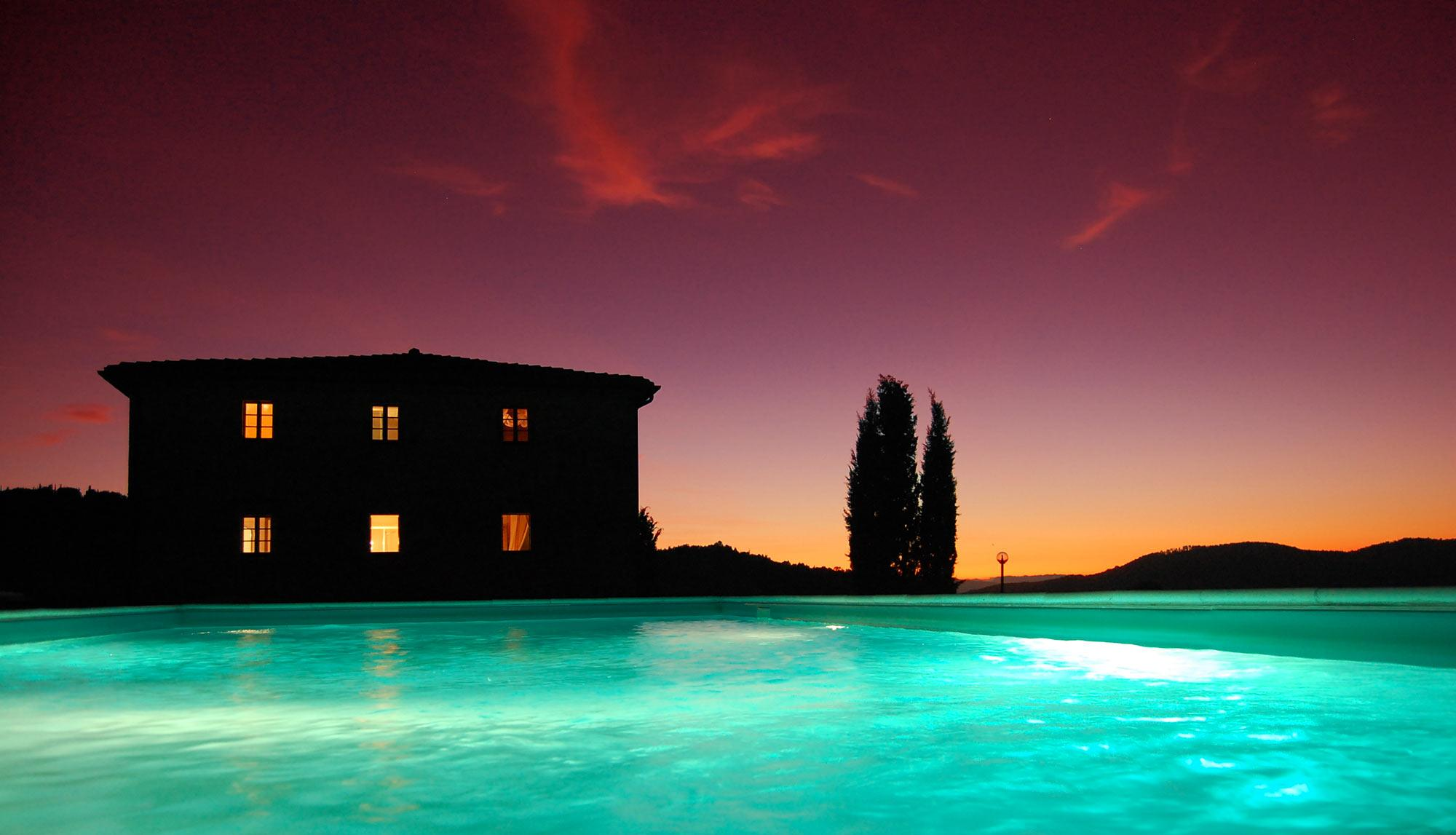 illuminated pool of the rental villa